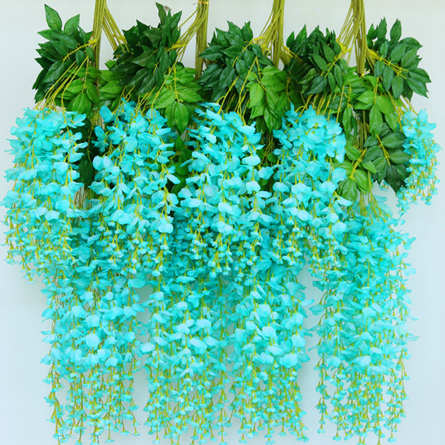 12pcslot high quality longer artificial wisteria flowers home 12pcslot high quality longer artificial wisteria flowers home wedding arch decoration vine fake junglespirit Image collections