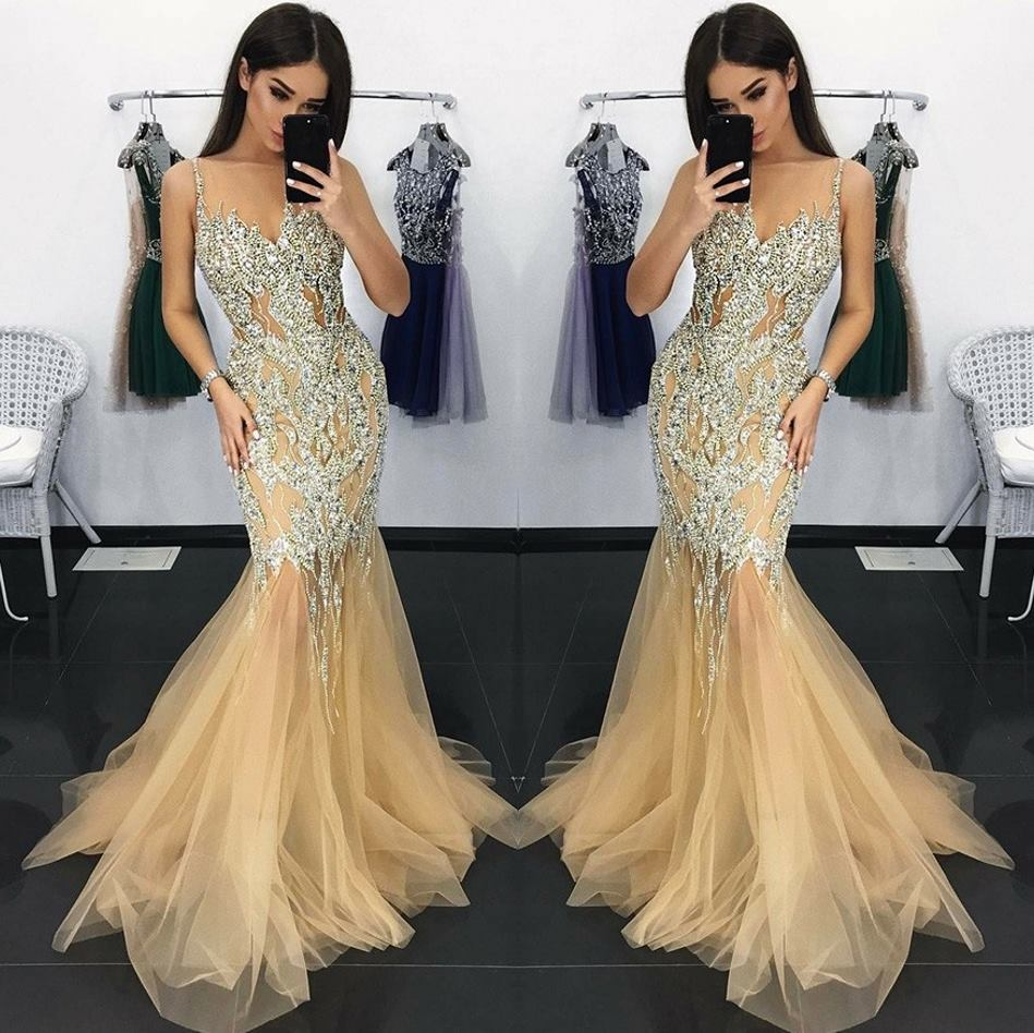 Sexy Beading Crystal   Prom     Dresses   2019 Illusion Spaghetti Strap Tulle   Prom   Gowns V-Neck Mermaid Long   Dresses   Vestidos De Gala