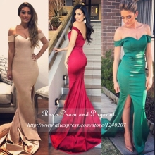 Long Elegant Mermaid Prom Dress V neck Cap Sleeve Side Slit Stretch Satin Floor Length Prom