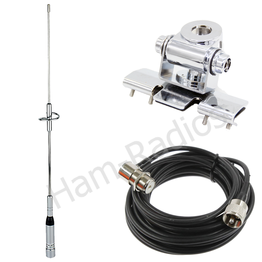 YiniTone Nagoya NL 770S Dual Band Antenna+RB 400 Antenna Mount+RG 58U 5M Coaxial Cable Walkie Talkie For Mobile Car CB Radio TYT