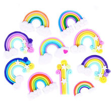 1/5/10PCS Rainbow Fimo Flatback Buttons Craft Appliques Slime Clay Candy DIY Charm Cake Phone Decoration(China)