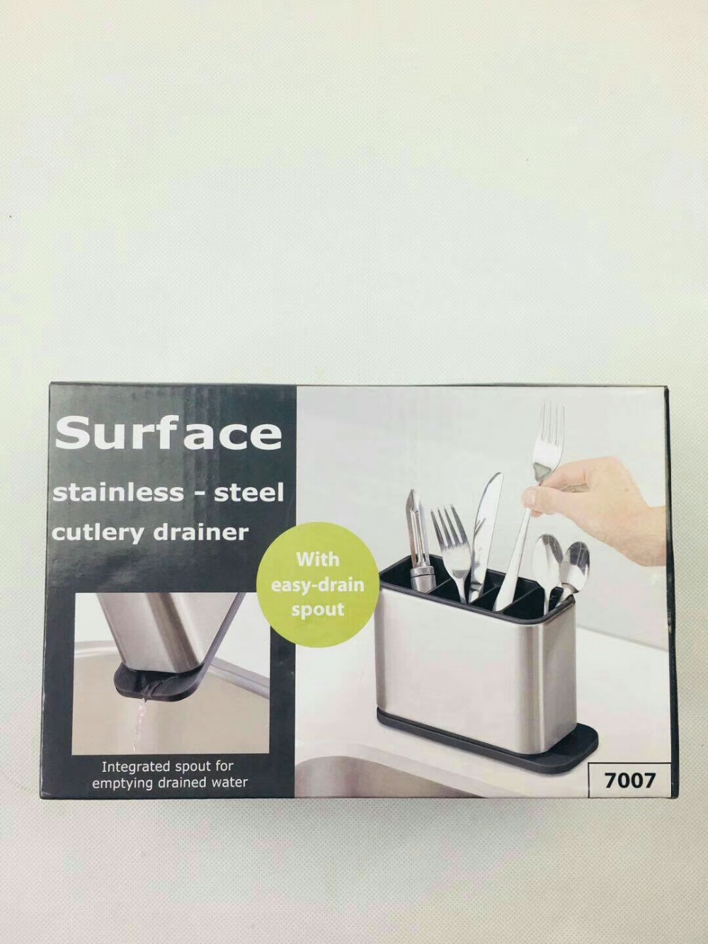 Surface Stainless-Steel Cutlery Drainer With Easy-drain Spout Kitchen Storage