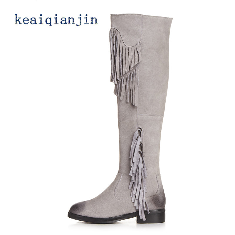 ФОТО Genuine Leather Tassel Boots Black Gray High Quality Autumn Winter Woman Thigh High Boots Fashion Thick Heel Fringe Boots 2016