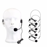 5 Pcs ANDERS Mini Headset Microphone Condenser MIC For Voice Amplifier Speaker Professional Tour Guide System