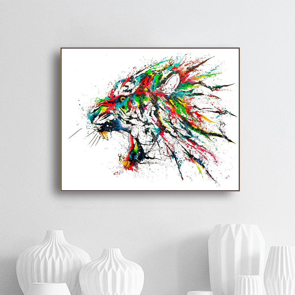 Laeacco Canvas Painting Calligraphy Watercolor Lion Animal Posters and Prints Wall Artwork Living Room Kids Room Home Decoration in Painting Calligraphy from Home Garden