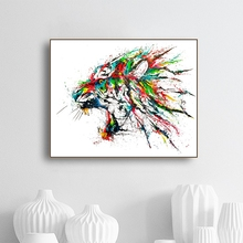 Laeacco Canvas Painting Calligraphy Watercolor Lion Animal Posters and Prints Wall Artwork Living Room Kids Home Decoration