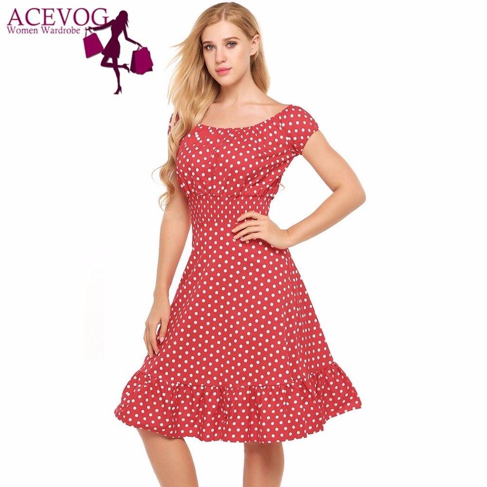 ACEVOG Women Vintage Dress Boat Neck Short Cap Sleeve Polka Dot Ruffles Hem A-Line Party Dresses Feminino Vestidos Mujer Robe