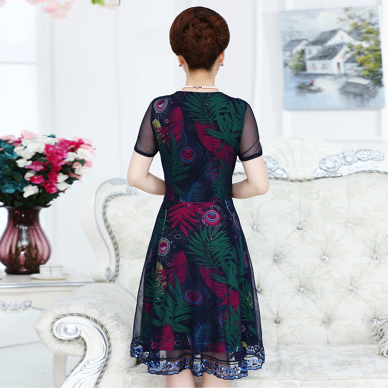 145258d7c30 Women Summer Dress Long Middle aged 40 50 Years Old Mother Dresses Large  Size Ganze Patchwork XL 5XL-in Dresses from Women s Clothing on  Aliexpress.com ...