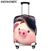 INSTANTARTS Travel Cartoon Pink Pig Luggage Protective Cover wholesale Waterproof Dust Case Bag Suit for 18 30inch Zipper Bag