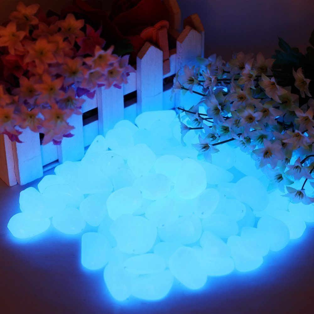 150 sztuk świecić w ciemności drobne kamyki dom ogród chodnik akwarium Fish Tank luminescencyjne kamień niebieski ogród ozdobny kamień A30513