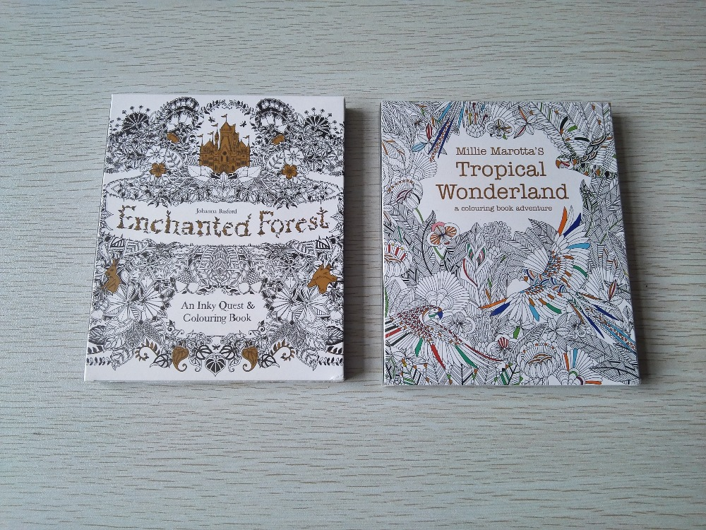 2PCS/LOT English Edition Enchanted Forest+Tropical Wonderland 30 Sheets Coloring Card  Tintage Postcards DIY Colouring Postcards