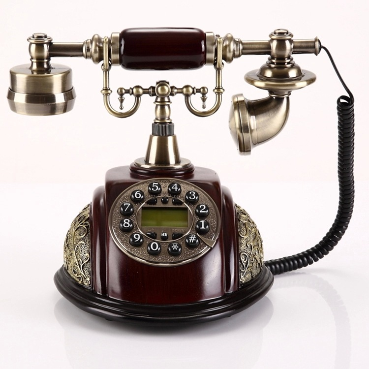 лучшая цена Antique Landline Telephone With Button Dial Home Fixed Vintage Phone Without Battery Decoration For Office Hotel Telefone Bronze