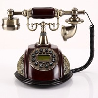 Antique Landline Telephone With Button Dial Home Fixed Vintage Phone Without Battery Decoration For Office Hotel Telefone Bronze