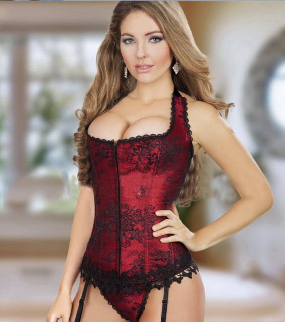 e9ece308c7f Vocole Women Sexy Red Bustier Basques Zipper Lace Up Corset G-string Sets  Wedding Dress