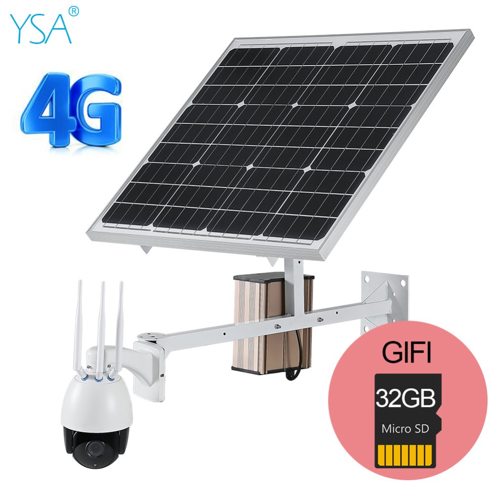 YSA 3G 4G Sans Fil PTZ Vitesse Dôme Solaire IP Caméra Extérieure 1080 P HD 5X Zoom CCTV de Sécurité 60 W panneau solaire Livraison Donner 32 GB TF Carte