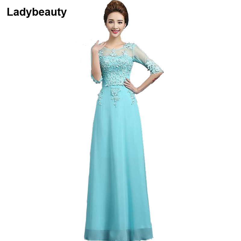 Ladybeauty New Fashion 2018 Formal Pink Long Design Medium Sleeves Party Gown Vestidos Elegant Lace Plus Size   Evening     Dresses