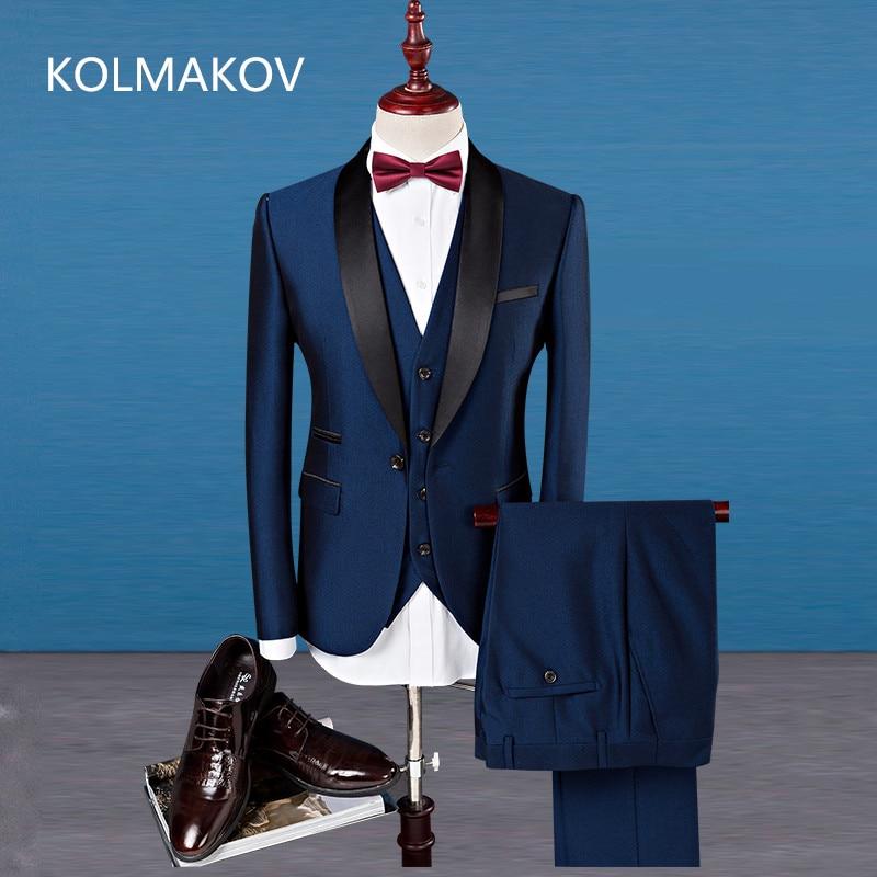 (Jacket+Pants+Vest) 2019 Spring Fashion Men's Suits Luxury Formal Dress Suits Sets Men Wedding Suits Groom Slim Tuxedos S 4XL