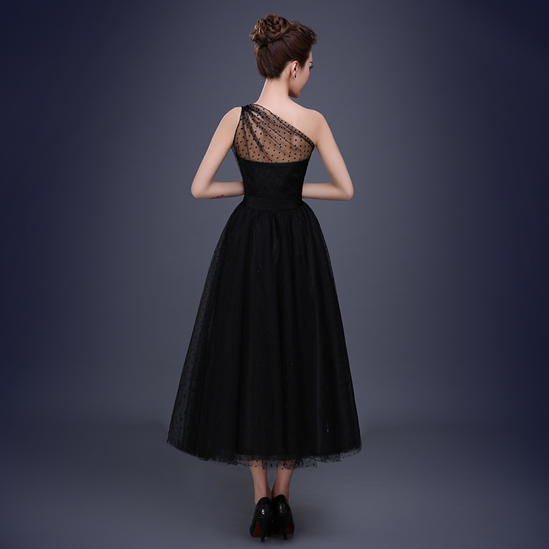 Negro Simple de un hombro de longitud de té gasa vestido de tul ...