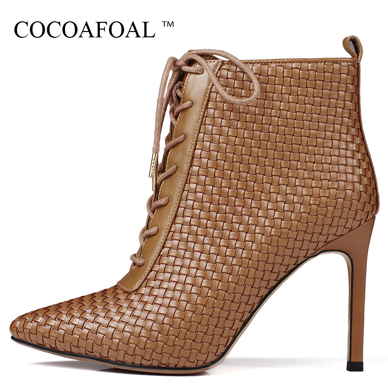 COCOAFOAL Woman Pointed Toe Lace Up Winter Ankle Boots Big Size Fashion Sexy High Heel Shoes Black Genuine Leather Chelsea Boots new 2016 fashion women winter shoes big size 33 47 solid pu leather lace up high heel ankle boots zapatos mujer mle f15