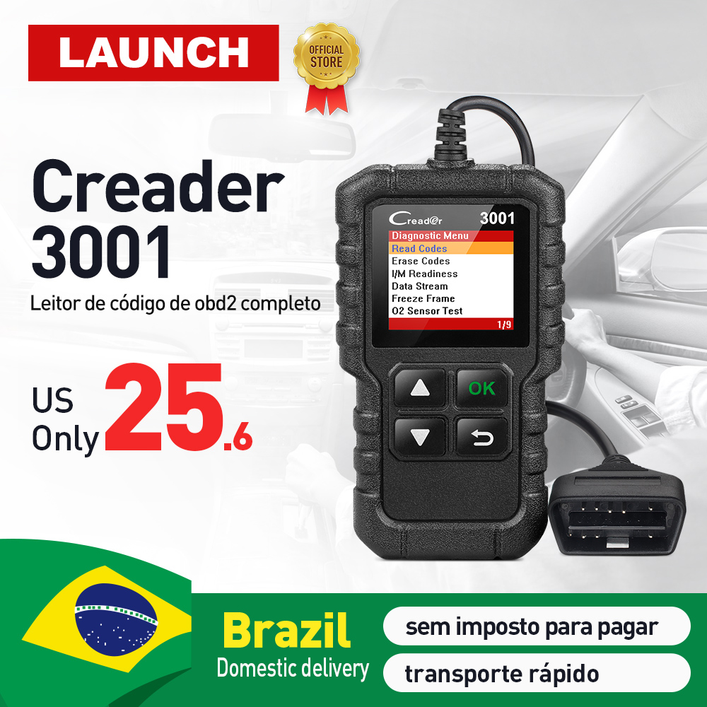 LAUNCH OBD2 EOBD Code Reader Scan tool Creader 3001 Support all 10 test modes of the OBDII CR3001 OBD 2 Scanner pk OM123 AD310 power of unstoppable 10 pk