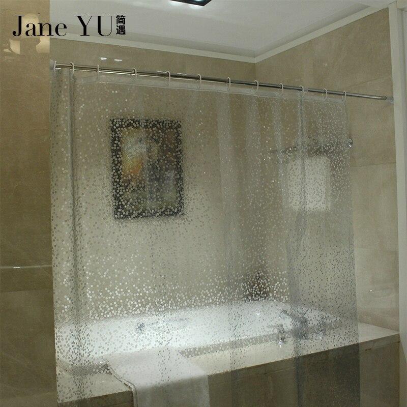 JaneYU Shower curtain 1.8m EVA Translucent Thickened Shower Curtains Bathroom Curtain Moldproof Waterproof Bathroom Curtain