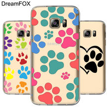 DREAMFOX M079 corte perro pata suave TPU funda de silicona para Samsung Galaxy Note S 3 4 5 6 7 8 9 Edge Plus Grand Prime(China)