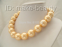 Jewelry 20mm Large Gold shell pearl necklace