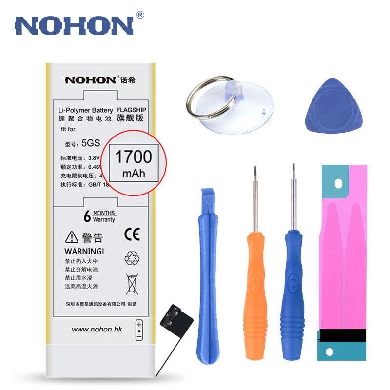 NOHON Bateria Para Bateria 1700 mAh Substituição de Baterias de Telefone Celular iPhone 5 5S On Para iPhone 5 5S Ferramentas Gratuitas pacote de varejo