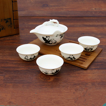 [ 1 Cover cup+4 Cups] 2018 Newest 5Pcs KungFu Panda teapot cup Ceramic tea set Coffee Drinkware teacup For Gift Box Safe Package