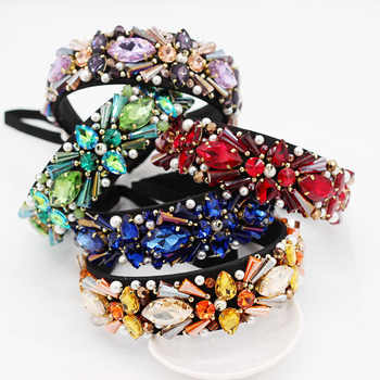 New hand-stitched Baroque crystal small particles geometric headband dance party cocktail personality headband 972 - DISCOUNT ITEM  11% OFF All Category
