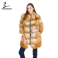 FURSARCAR Real Fur Full Pelt Natural Red Fox Fur Coat Turn Down Collar Three Quarter Winter