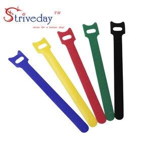 Image 4 - 100 pz 5 Colori possono scegliere di Magic tape cablaggio/nastri fascette/nylon del Legame del cavo Del Computer via cavo trasduttore auricolare del Cavo tie