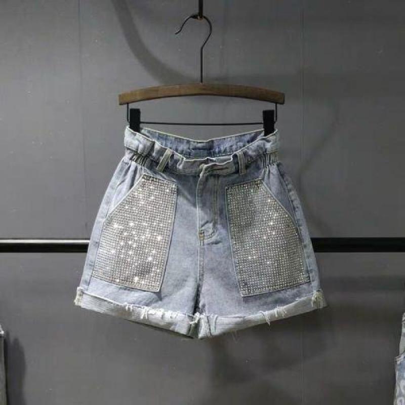 Summer High Waist Denim   Short     Shorts   New 2019 Fashion Women Slim A-line Bling Bling Set Drill Light Blue Jeans   Short