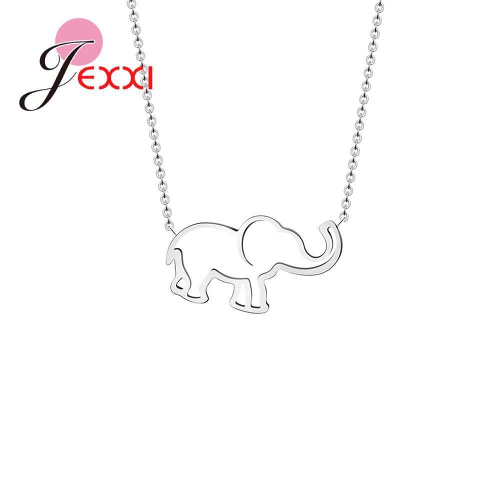 Nowa gorąca sprzedaż Femme słoń wisiorek naszyjniki 925 Sterling Silver SilverChains dla kobiet biżuteria Choker Joyas złoty srebrny kolor Collier