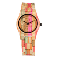 BEWELL 2018 Bamboo Wooden Watch for Women Colorful Design Round Wood Case Handmade Natural Wristwatch Dropshipping 105DL