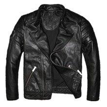2017 мужские черные кожаная куртка мотоцикла стоять воротник Короткие Slim Fit зимние кожаные байкерская куртка Прямая продажа с фабрики Бесплатная доставка