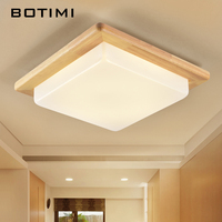 BOTIMI European LED Ceiling Lights For Dining Nature Wood lamparas de techo Rooms Lighting Fixtures For Bedroom Kitchen