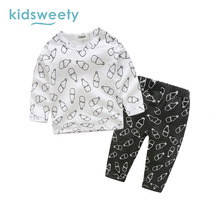 Kidsweety Kids Sets Cartoon Pattern Pullover Boys T-Shirt Pants Unisex Child Suits Girls Hoodie Trousers Casual Twinset Kid Sets
