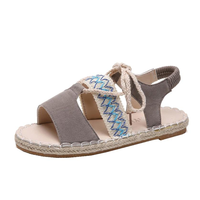 2018 NEW Drop shipping sandals womens slippers Fashion Women Girl Rome Sandals Bandage Flat Bottom Espadrilles Holiday A0612#30 недорго, оригинальная цена