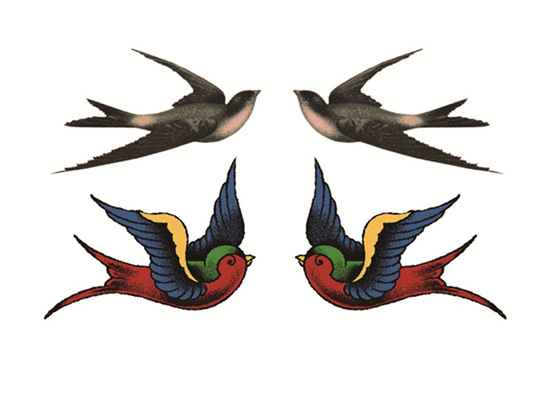 Waterproof Temporary Tattoo Loving Birds Fly Swallows  Water Transfer Flash Tatto Fake Tattoo For Woman Gril Man
