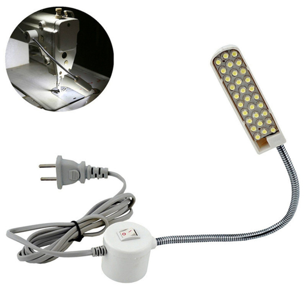 Industrial Lighting Sewing Light  Machine Lamp 30 LED Bulbs Tools Accessories Table Gooseneck Magnetic Mounting Base AC 110-220V