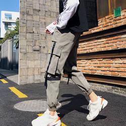 Весна японский тренд брюки мужские Свободные повседневные брюки Молодежный красивый Шаровары модный принт буквы мульти-комбинезоны с