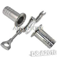 1 Pair 45MM 1.75 OD Sanitary Hose Barb Pipe Fitting +TRI CLAMP 2.5+PTFE Gasket Stainless Steel 304