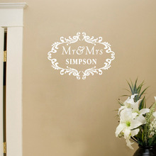 Custom the Couple Last Name Personalized Mr and Mrs Creative Wall Stickers Vinyl Decals Art for Home Decoration