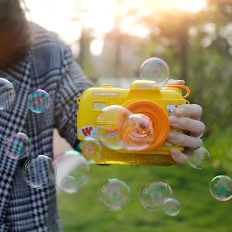 Outdoor Music Bubble Maker Toy Cute Automatic Camera Shape Bubble Machine Wedding Bubble Toy Children Christmas Gift in Bubbles from Toys Hobbies