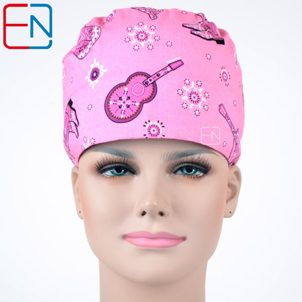 Hennar New Surgical Caps Doctor Dentists Scrub Caps Hospital Working Hats Printed Operating Room Cotton Caps Doctors Accessories