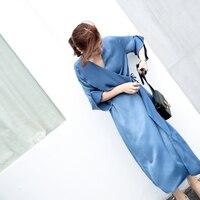 High Quality Women's Dress French Retro dresses minimalist satin silk Femme Temperament 2018 New chic dress Long lady