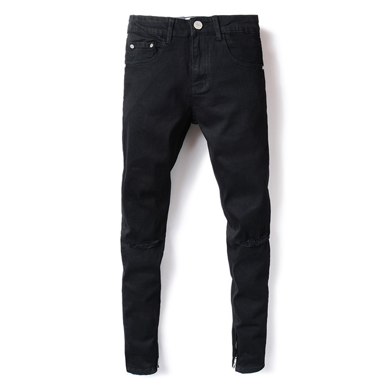 American Streetwear Men Jeans Black Color Ankle Zipper Denim Casual Pants Kneed Frayed Hole Ripped Jeans Homme Hip Hop Jeans Men