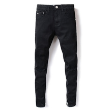 American Streetwear Men Jeans Black Color Ankle Zipper Denim Casual Pants Kneed Frayed Hole Ripped Jeans homme Hip Hop Jeans Men