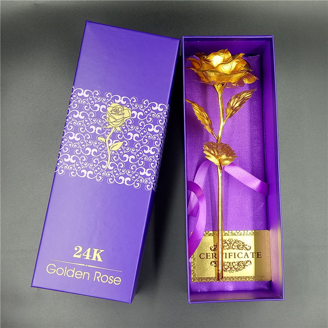 Fast Free Shipping 24k Gold Foil Plated Rose Decoration Flower